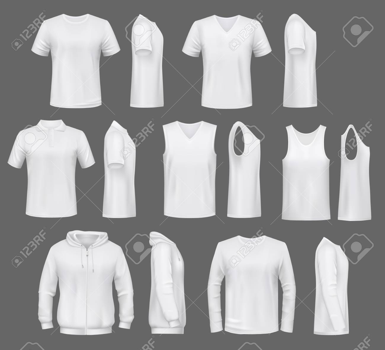 Male fashion, t-shirt templates with hoodie and sweatshirt, polo and singlet or sleeveless shirt. Vector basic clothes white mockups, casual garments. Men outfit henleys and tank top items, underwear - 124610210