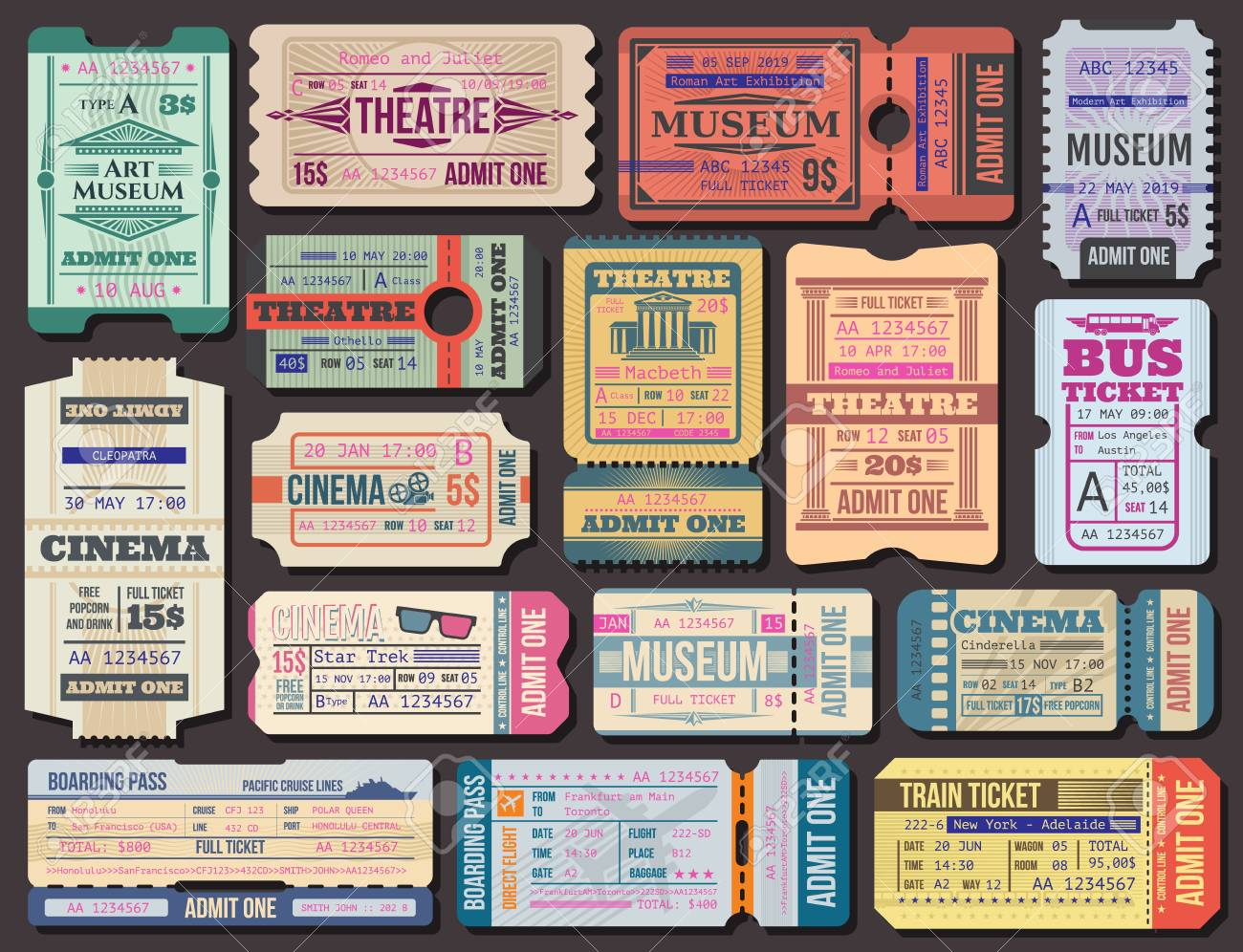 Cinema, museum and theatre tickets and boarding pass vector. Film show 3d seance, stage performance and exhibition paper admission. Transportation by plane and ship, bus and train, traveling - 118523474