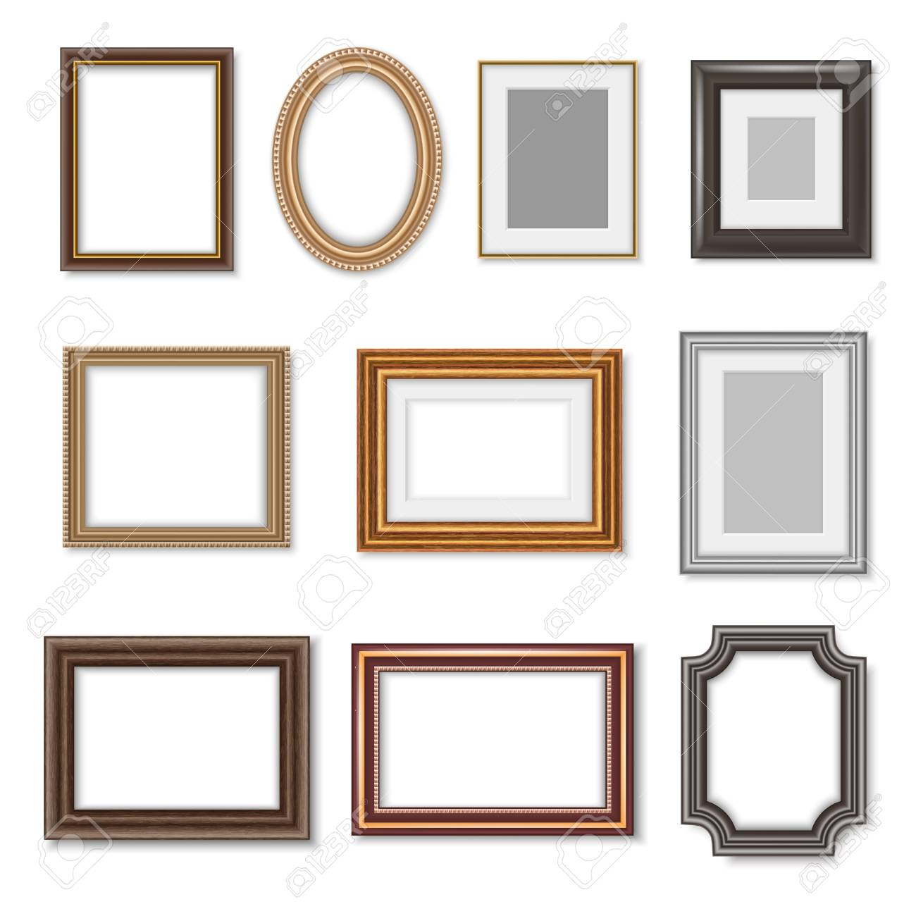 Photo frames and ornate picture borders isolated realistic set. Vector blank rectangular vintage wooden photo frame with ornate edges and luxury oval golden mirror borders - 118668617