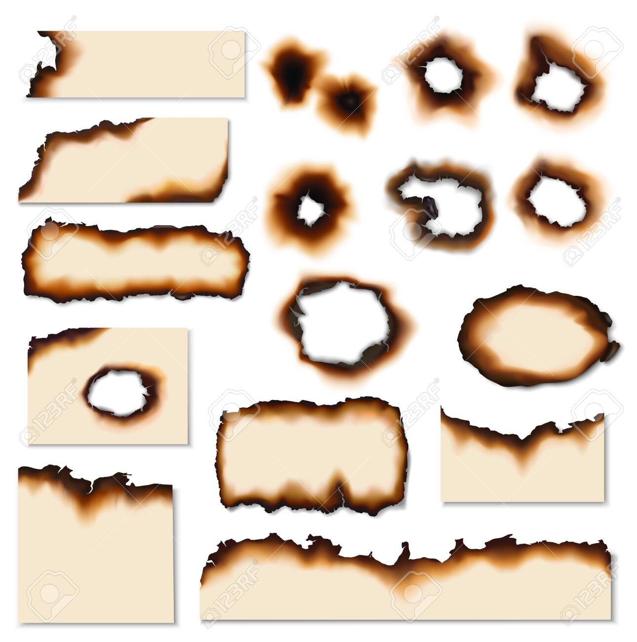 Paper burnt holes vector realistic set. Paper pages and sheet scraps with fire burned or scorched edges, sides and holes - 124517758