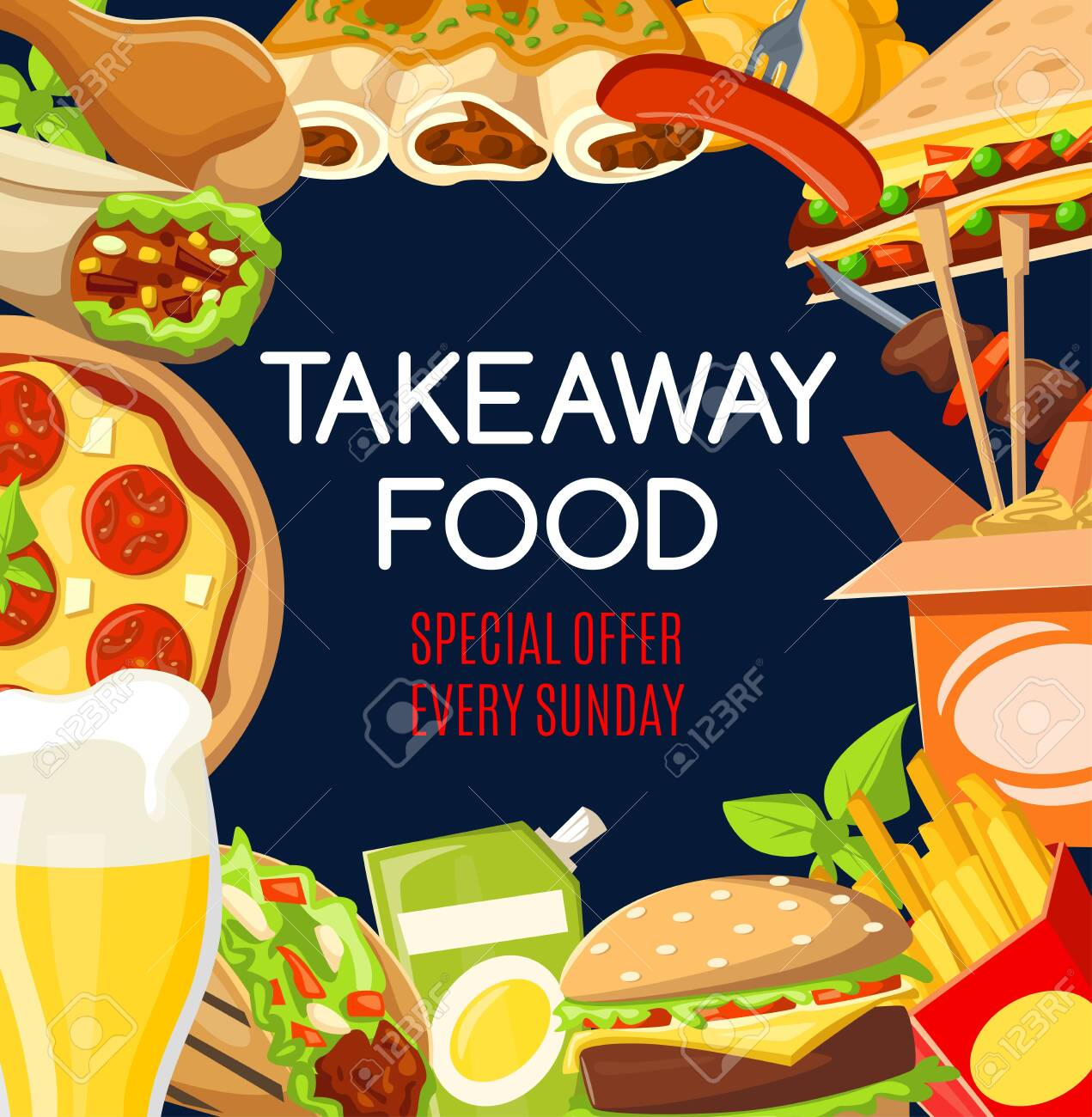 Fast food menu cover of takeaway snacks and drinks special offer. Vector fastfood restaurant or cafe burgers, pizza or Mexican burrito and Asian noodles with chicken grill legs and kebab - 124256210