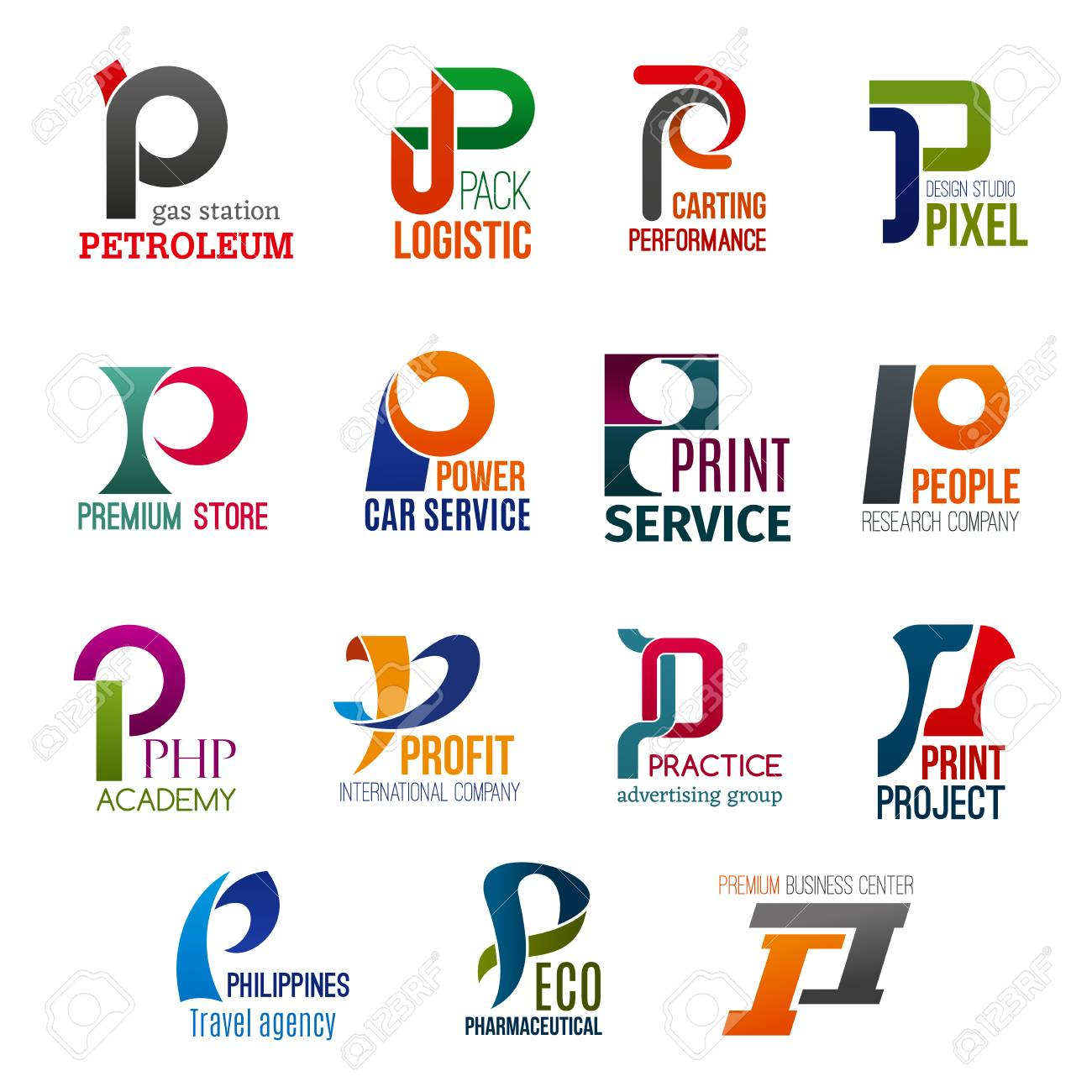 Corporate identity letter P business icons. Vector gas and logistic, transport and design, shopping and repairing, science and typography. Education and finance, advertising, travel and ecology - 123676046