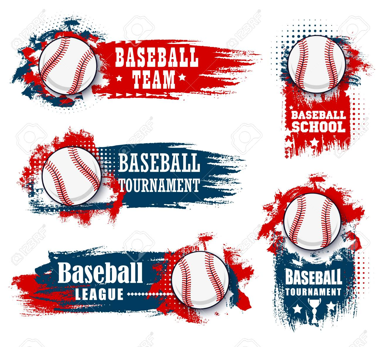 Baseball sport banners with halftone blue and red - 121171910