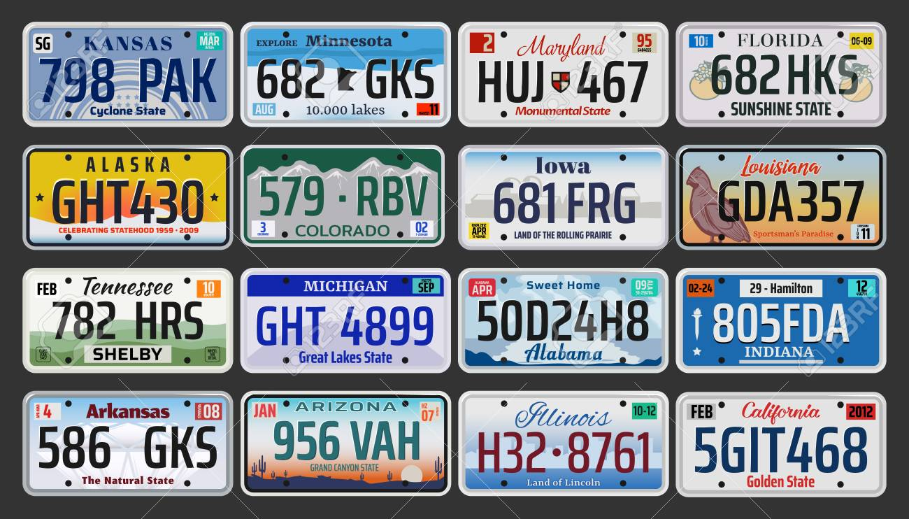USA vehicle registration plates with state symbols. - 121246081
