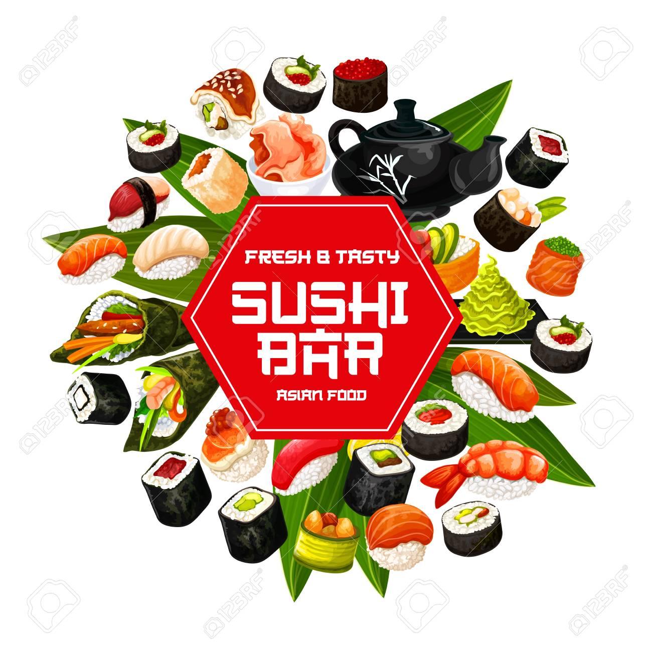 Japanese sushi bar poster. - 121246182