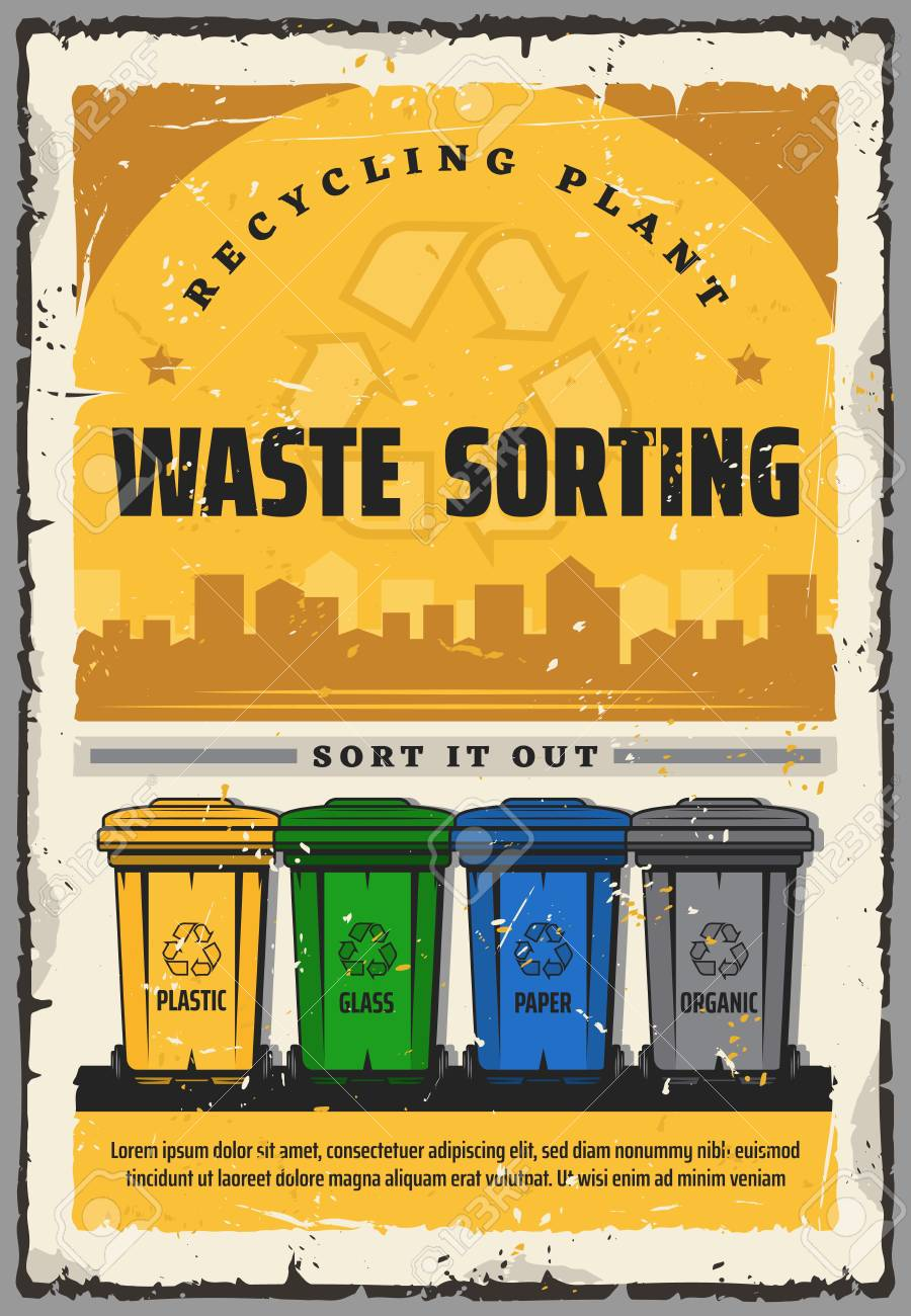 Waste Sorting Recycling Plant Vintage Poster Rs