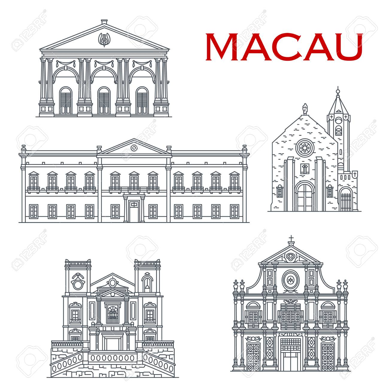 Chinese travel landmark vector icons with asian architecture of Macau. Penha Church, Dom Pedro Theatre and Leal Senado Building, St Lawrence and St Dominic Churches. Oriental tourism design - 120960528