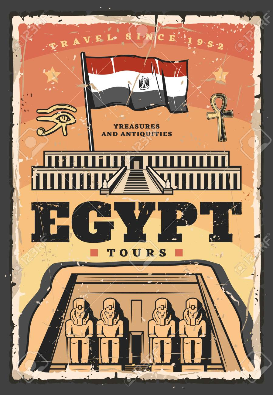 Egypt travel tour vector design with ancient egyptian temple of Pharaoh Ramesses. Abu Simbel religious building with facade statues, flag, ankh symbol and horus eye. Egypt architecture landmark poster - 120960696