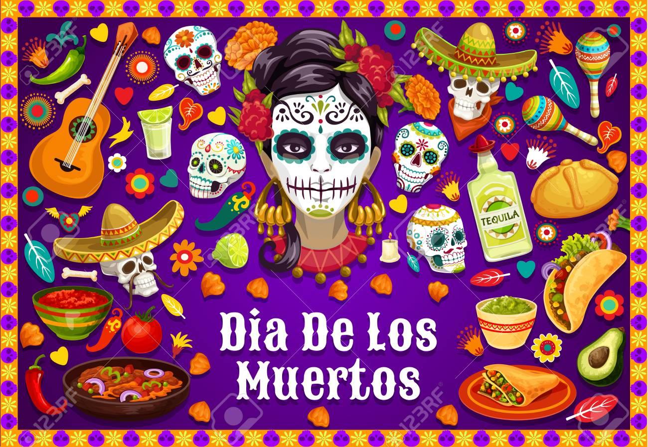 Dia de los Muertos Mexican holiday party food and drinks, traditional fiesta symbols. Vector Dia de los Muertos calavera skulls in sombrero, jalapeno chili pepper, guitar and Mexican maracas - 121133768