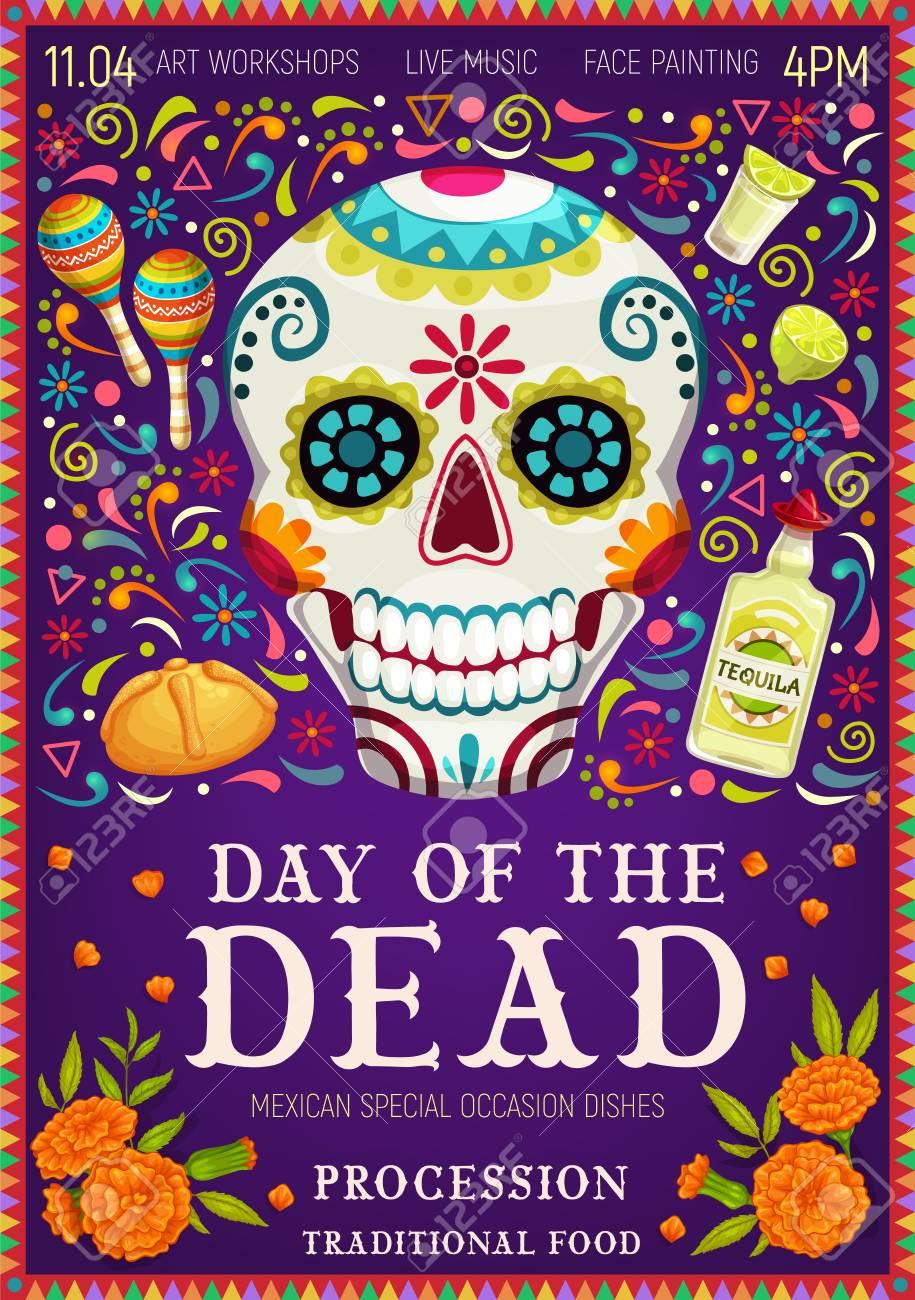 Dia de los Muertos Mexican holiday greetings and Day of Dead celebration symbols. Vector Dia de los Muertos traditional calavera skull with floral pattern, tequila with maracas and marigold flowers - 121133821