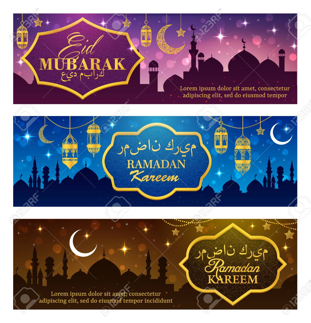 Ramadan Kareem Islam religion holiday vector design with Eid Mubarak greeting wishes calligraphy. Muslim mosques with arabic lanterns, golden crescent moon and star, decorated with arabian ornaments - 121133835