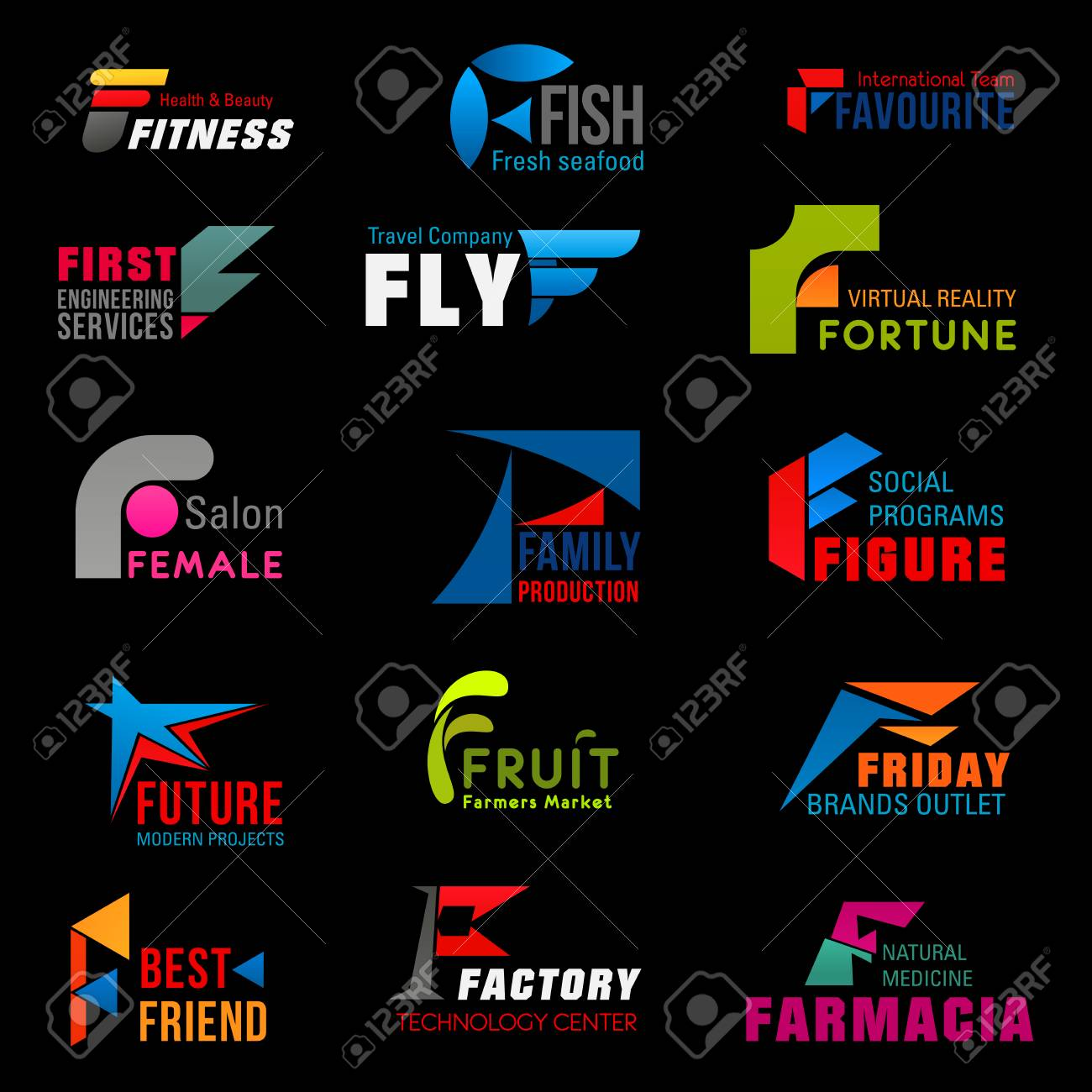 c6f3b96a54 Letter F corporate identity, business company and industry icons...