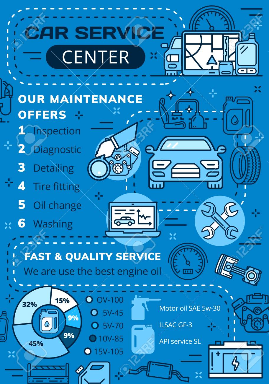 Auto service center poster, car diagnostics and repair station