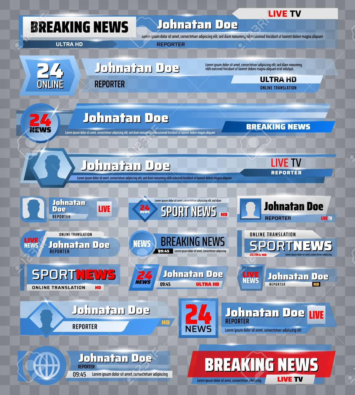 Sport and breaking news TV backdrops and header title bar boxes