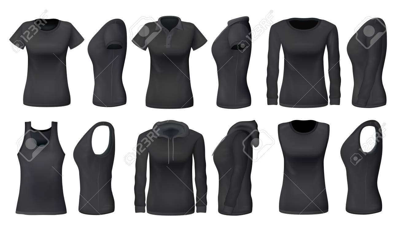 Women clothes and sportswear apparel mockups of t-shirts, sport tank tops and hoodies. Vector black womenswear casual polo or sleeveless shirt realistic models, blank front and side view - 122905921