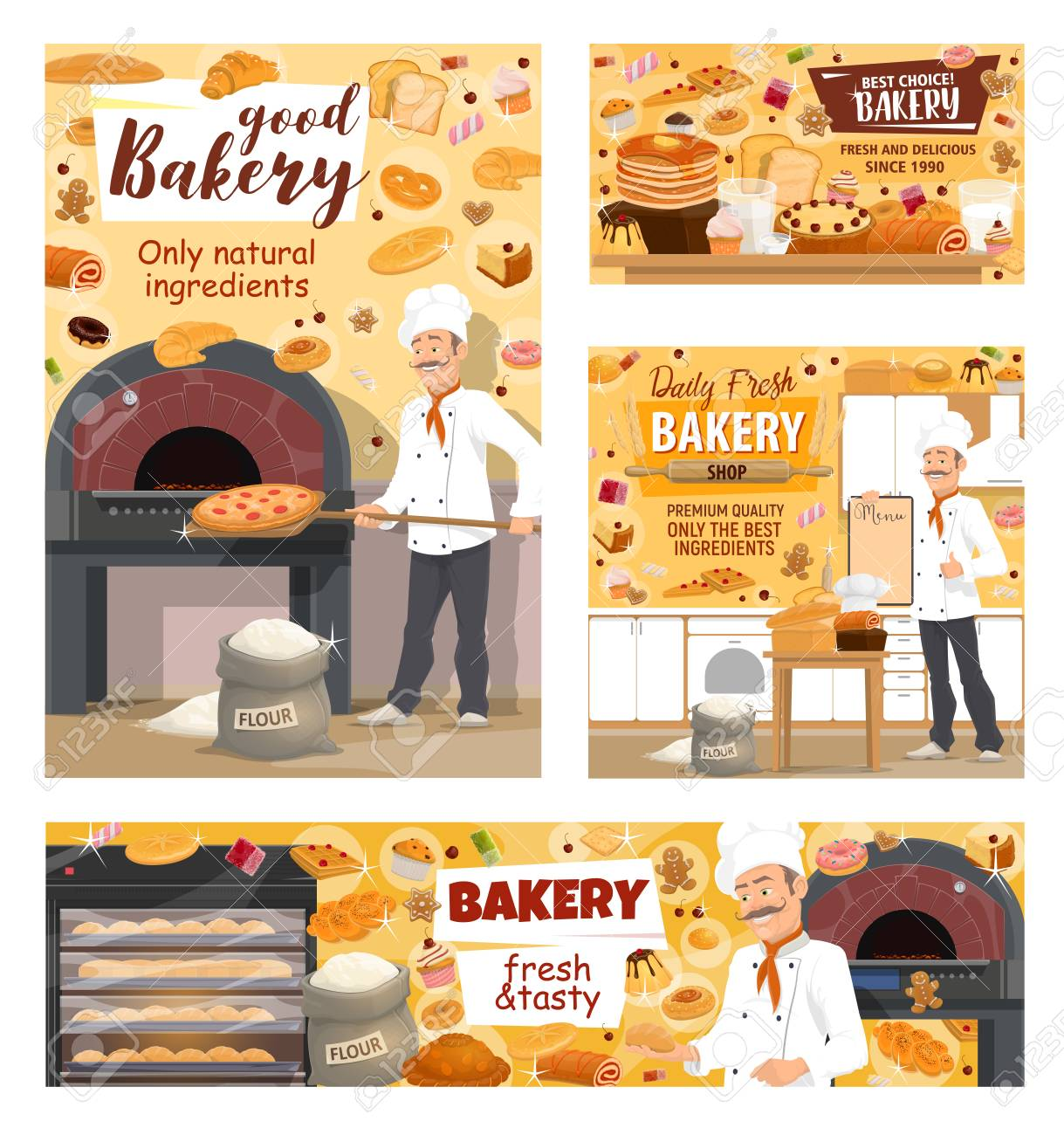 Baker baking bread, pizza and pastry cakes in bakery shop  Vector