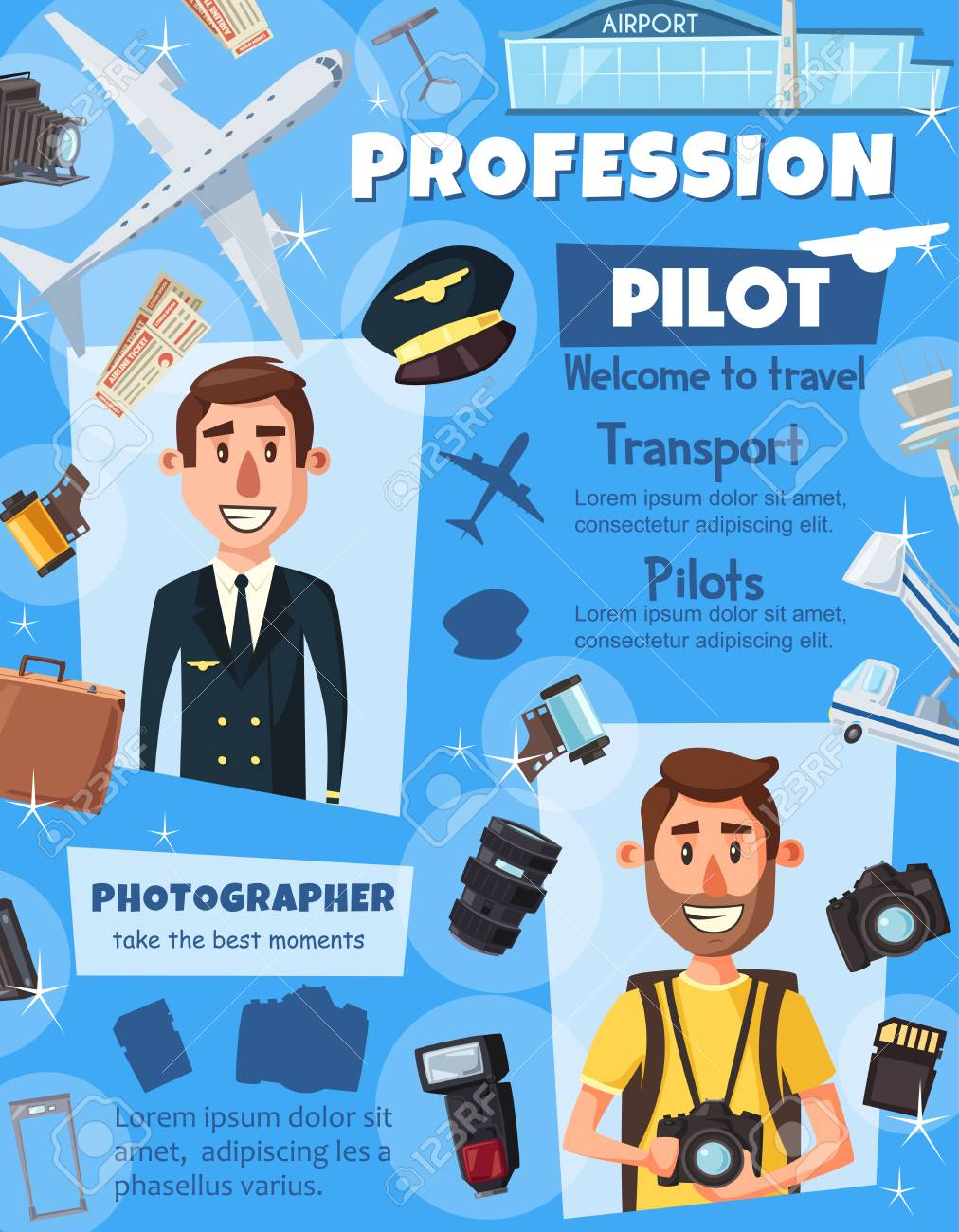 Pilot and photographer professions, aviation and photography