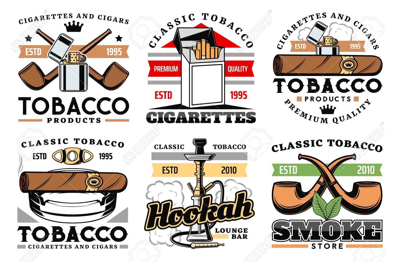 Cigars, cigarettes and premium quality tobacco factory or company labels. - 123370345