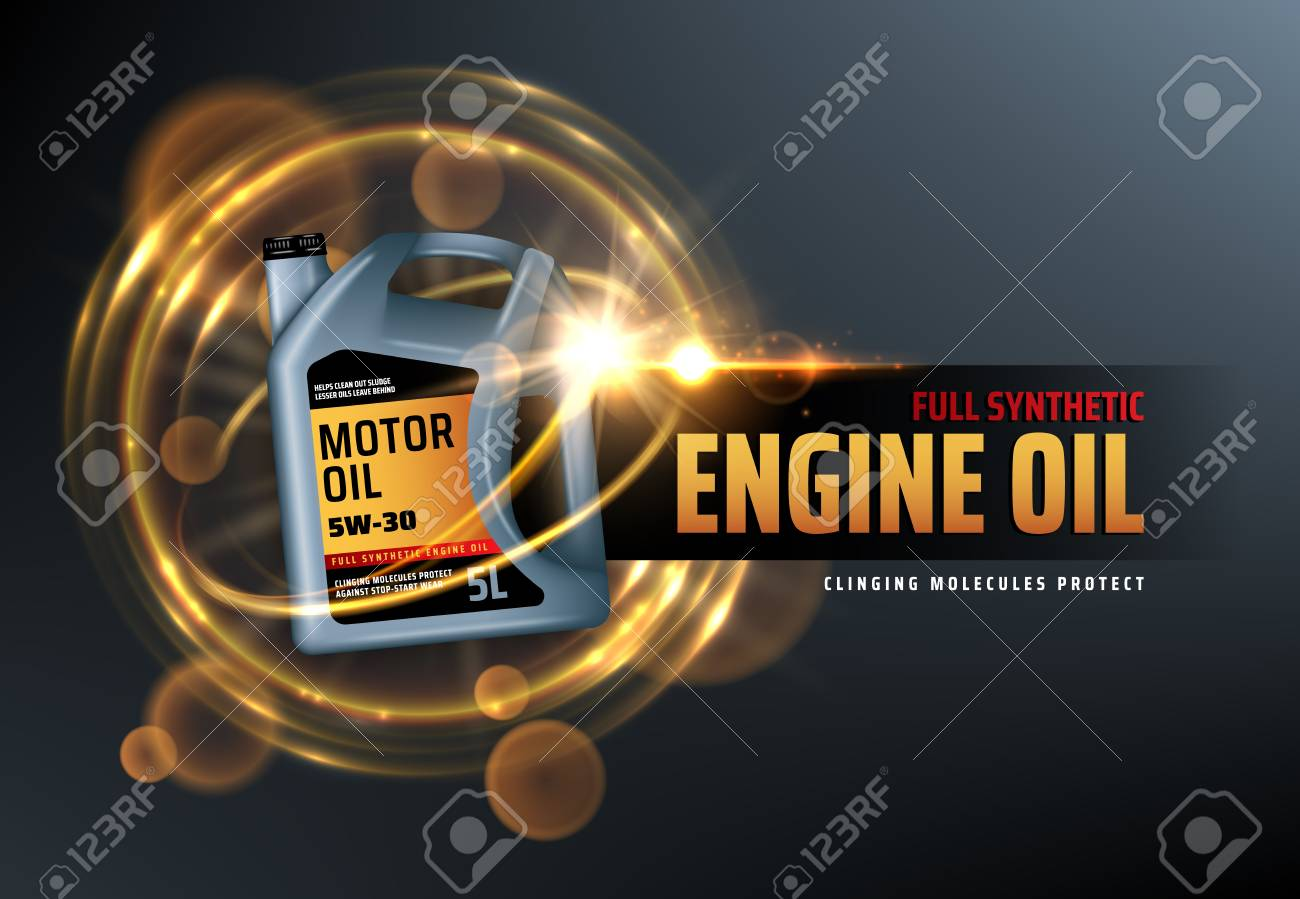Canister of engine motor oil, full synthetic clinging molecules protection. Vector vehicle engine lubricant oil change with blurred golden bubbles. Promotion and advertisement of car oils - 123675598