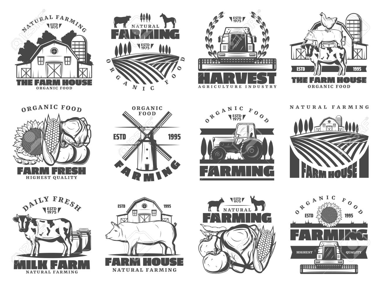 Farm agriculture and cattle industry, farming food production. Vector icons of cattle farm cow and pig animals, poultry chicken, organic vegetables and fruits harvest, farmhouse meat products - 124634539