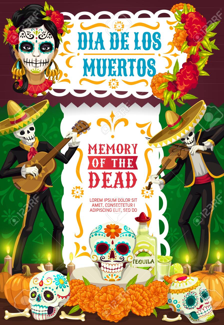 Day Of Dead Mexican Dia De Los Muertos Party Fiesta Poster Of Royalty Free Cliparts Vectors And Stock Illustration Image 124634582