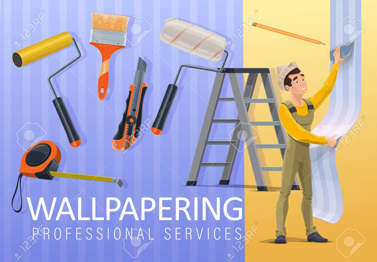Home Renovation Wallpaper Applying And Interior Wallpapering Royalty Free Cliparts Vectors And Stock Illustration Image 128162044