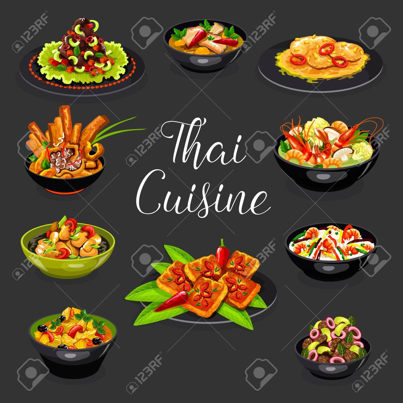 Thai suicune vector design of asian seafood and meat dishes. Hot soups of shrimp tom yum, chilli meat, chicken curry with pineapple and fried rice, chicken noodle, pork with peanut sauce, beef salad - 128162084