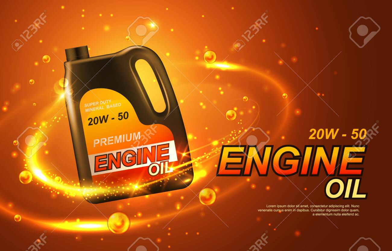 Car engine oil, automobile motor lubricant poster. Vector premium engine oil advertisement with golden splash and sparkling drops around 3d canister bottle of synthetic or mineral engine oil - 127130083