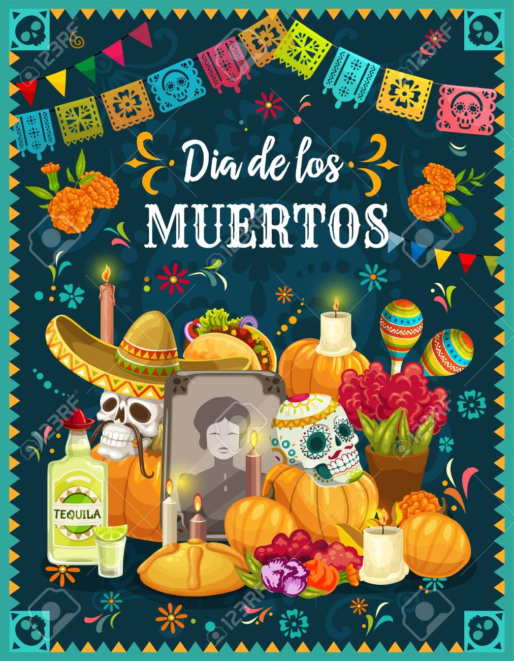 Dia de los Muertos altar with sugar skulls, Mexican Day of the Dead vector design. Tombstone, decorated with skulls in sombreros, maracas and marigold flowers, candles, sweet bun and Halloween pumpkin - 128162136