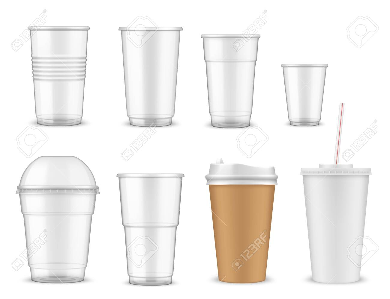 Cup Vector Mockups With 3d Plastic And Paper Mugs Of Hot Coffee
