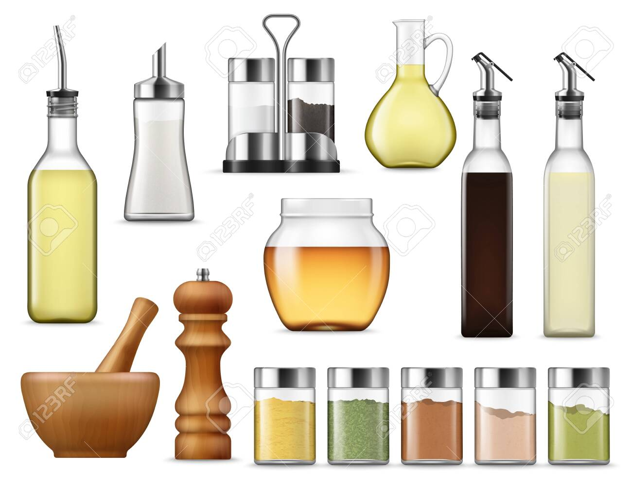 Salt and paper containers, glass jars with herb spices, vinegar pack isolated. Vector glass bottle of honey, seasoning racks and cooking oil. Sugar dispenser and oil carafe, salad dressing and sauces - 128162200