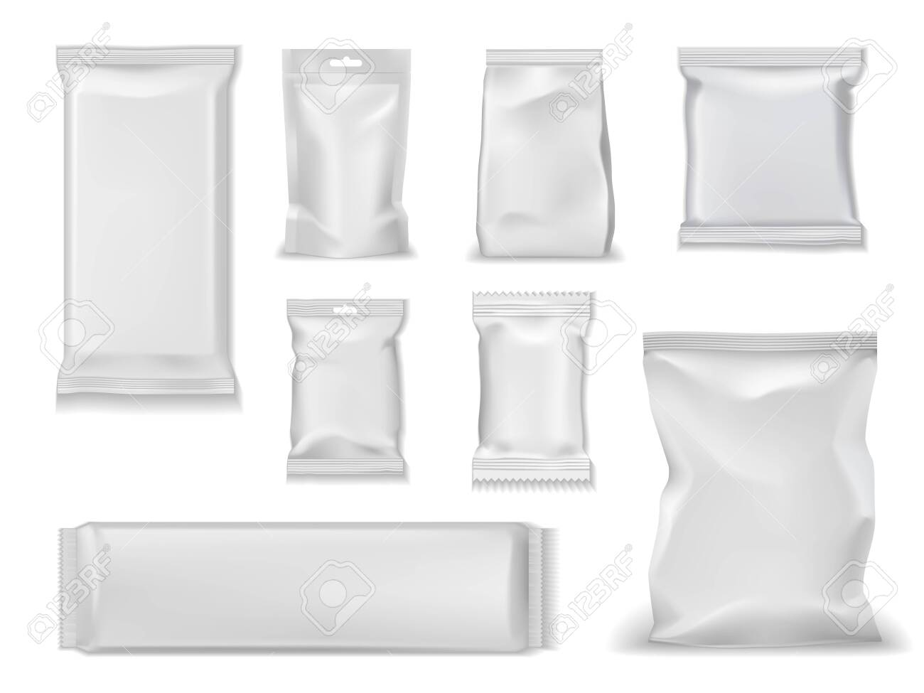 Download Bag Packs White Foil Doypack And Sachet Pouch Template Mockups Royalty Free Cliparts Vectors And Stock Illustration Image 128162209