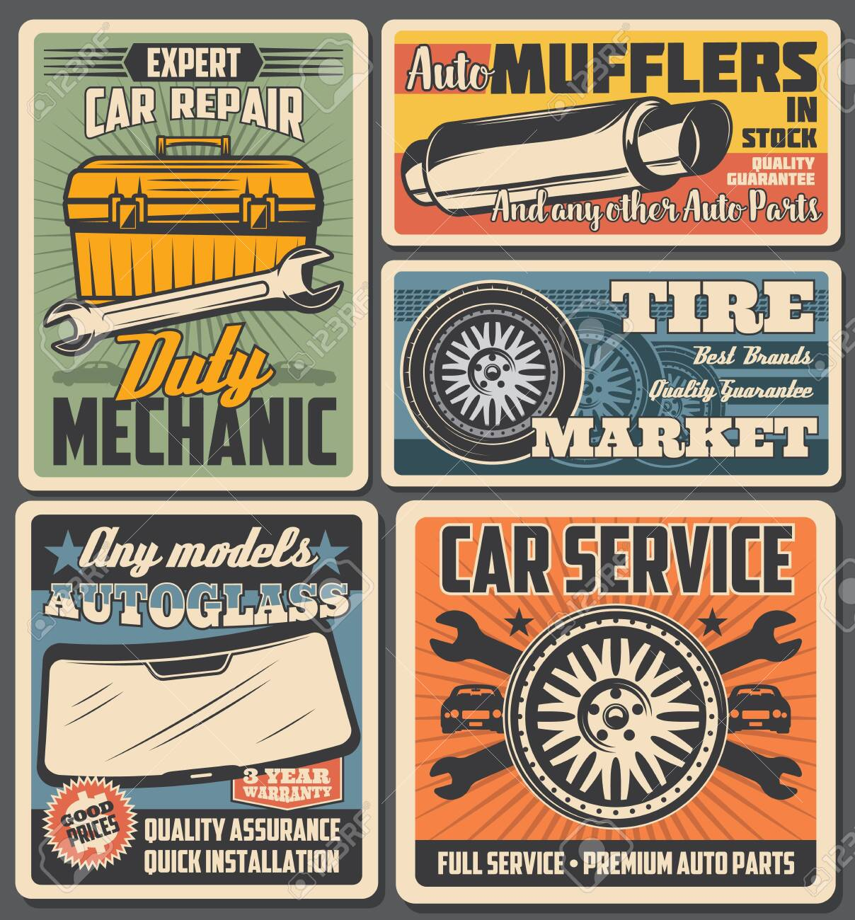 Car service and auto repair vector posters with spare parts and vehicle mechanic toolbox. Automobile wheels, tires and spanners, wrenches, autoglasses and exhaust pipe retro design - 128162217