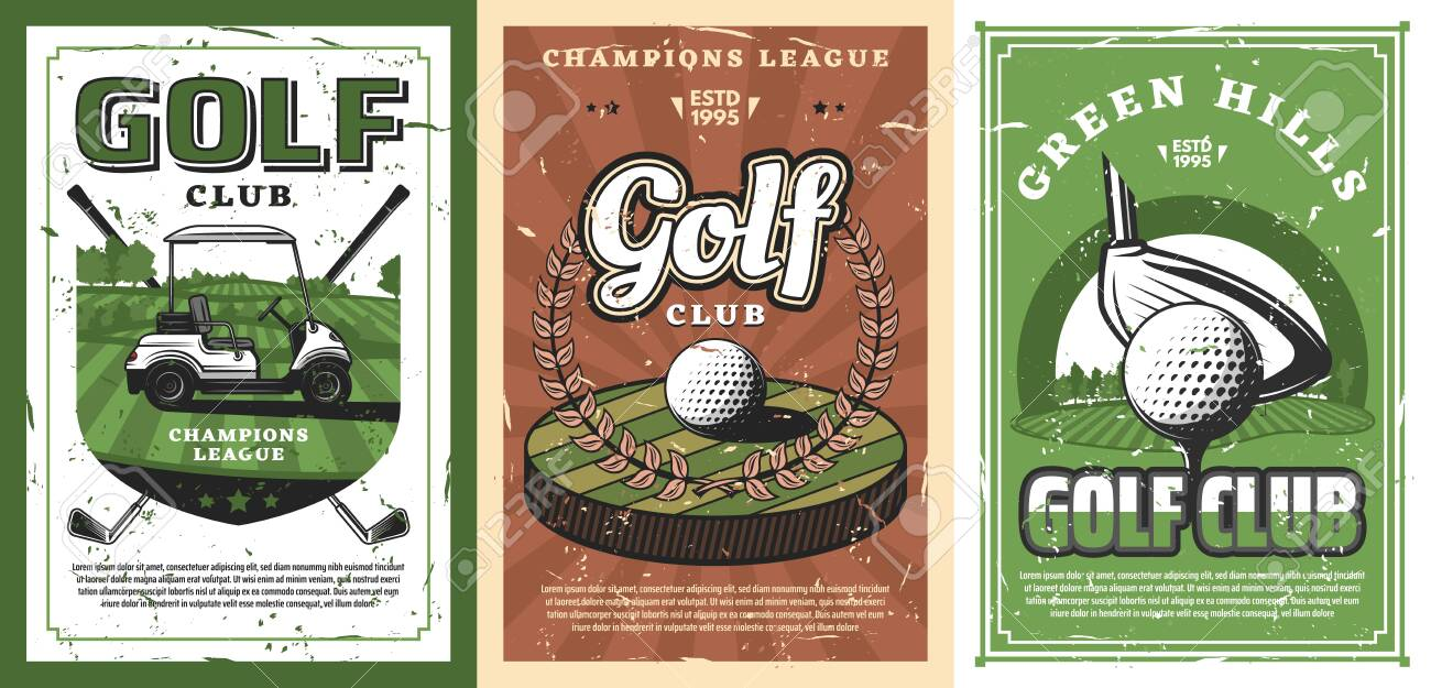 Golf Sport Course With Vector Balls Clubs And Tee Green Grass Royalty Free Cliparts Vectors And Stock Illustration Image 128162229