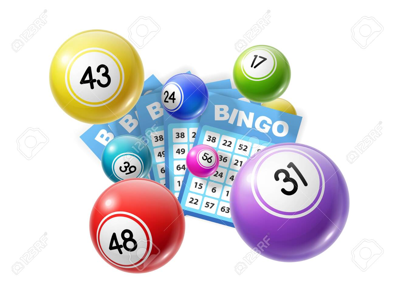 Bingo lotto game balls and lottery cards with lucky numbers