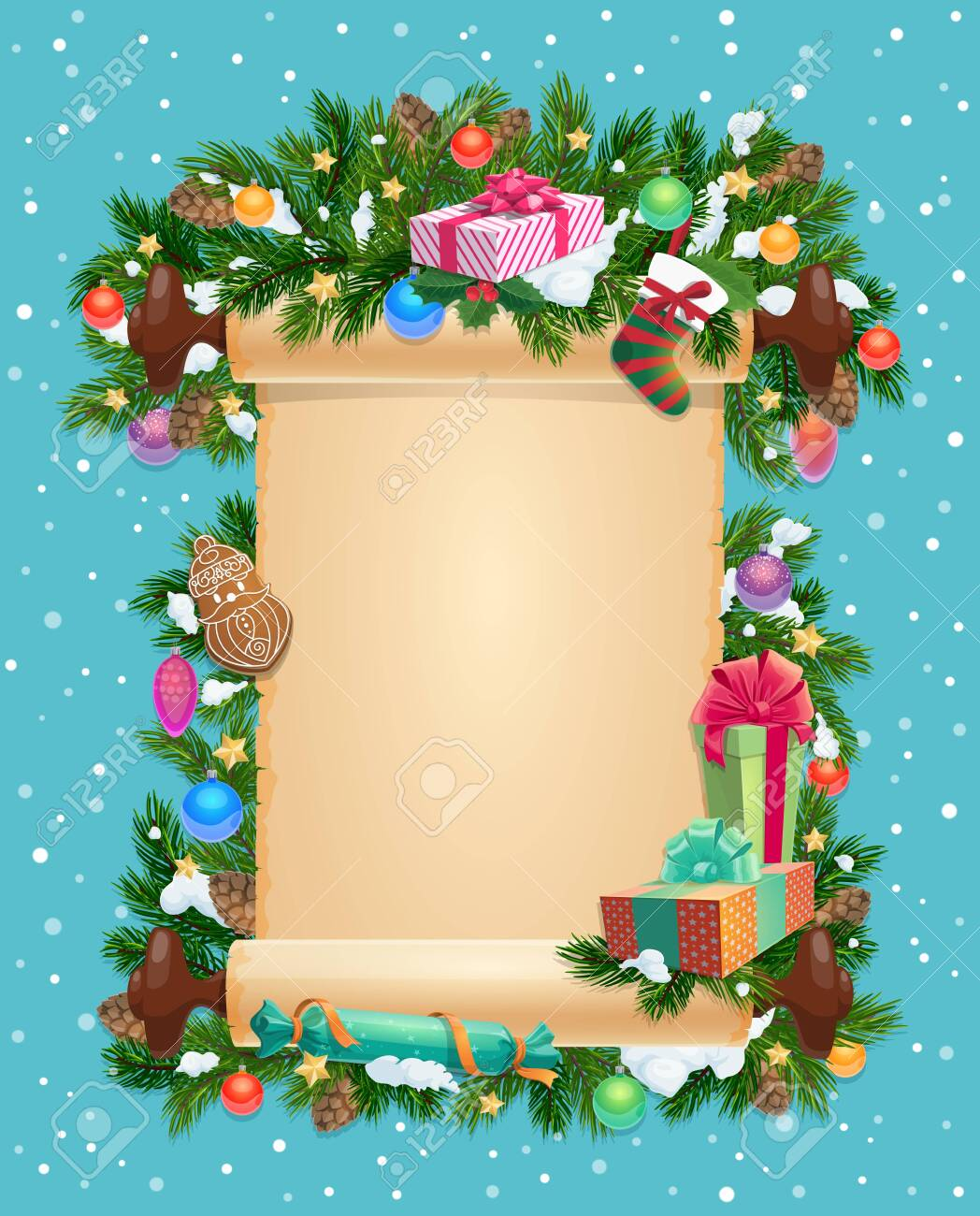 Merry Christmas Card Template Blank Ingot And Winter Holiday