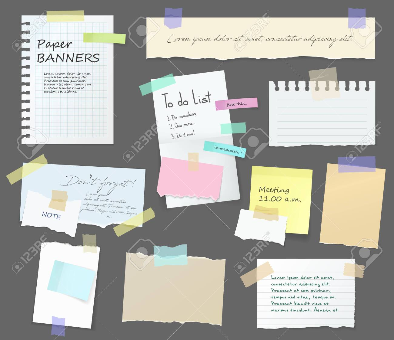Paper notes on stickers, notepads and memo messages torn paper sheets. Vector blank sticky notepaper posts of meeting reminder, to do list and office notice or information board with appointment notes - 129344843