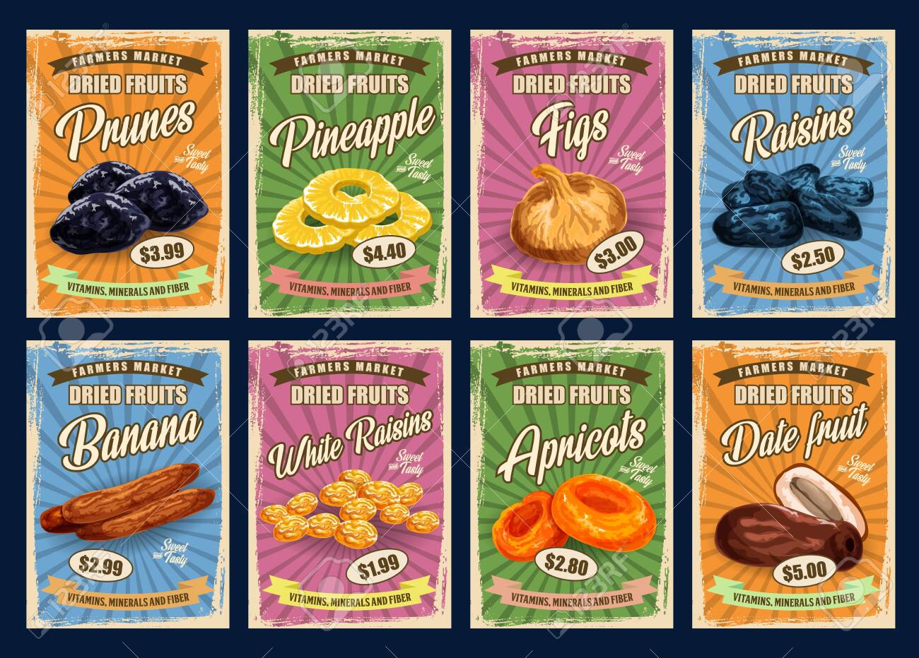 Exotic fruits, retro price cards. Vector prunes and pineapple slices, figs and raisins, dried bananas and white raisins. Apricots and date fruits vitamins, minerals and fiber, sweet desserts - 129654839