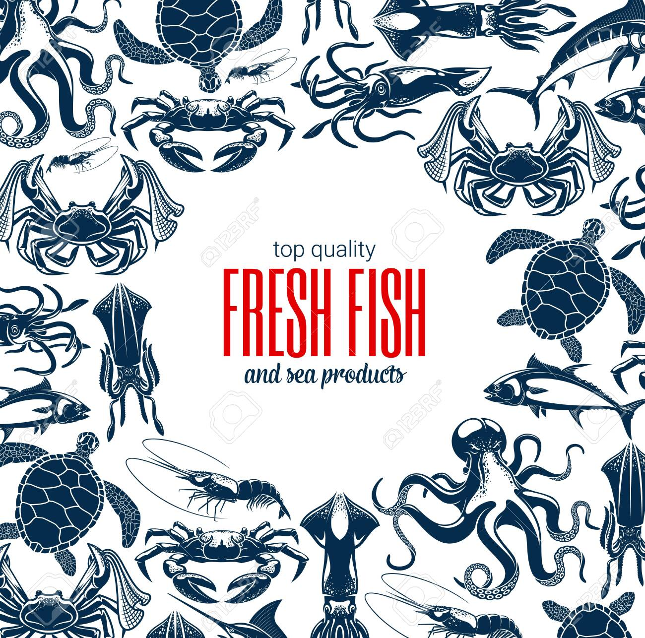 Fish and seafood products store or shop poster. Vector sea food fishery and ocean fishing catch, octopus, squid and shrimp or prawn, lobsters with crabs, crayfish and tuna, turtle and marlin - 130695446
