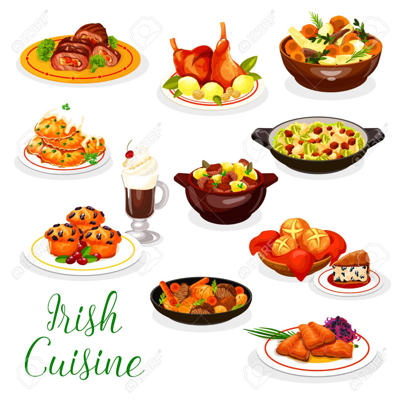 Cuisine of Ireland vector design with Irish coffee, meat and fish dishes. Vegetable stews with rabbit and lamb, baked salmon, potato pancake and red cabbage salad, beef roll, soda bread, berry cupcake - 133938445