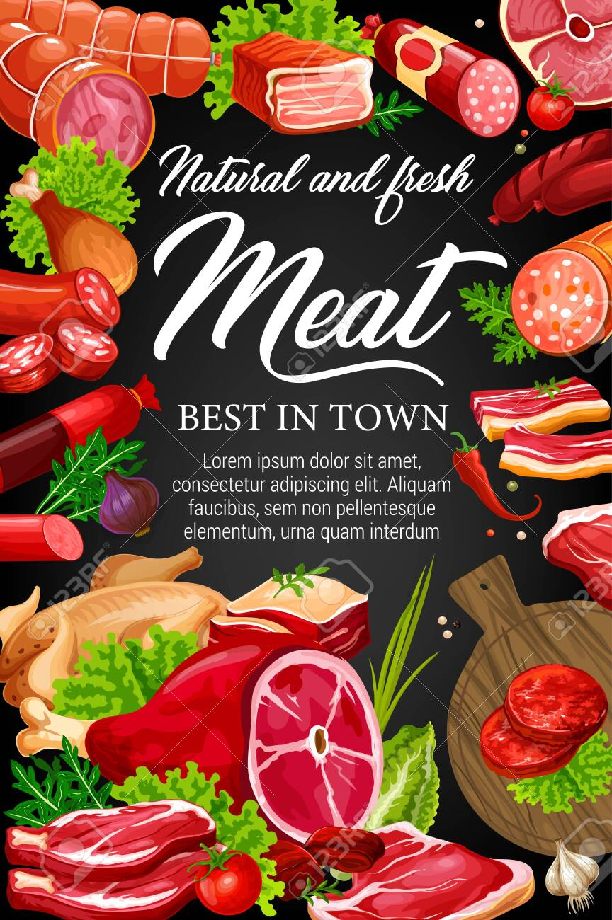 Meat food, spices, herbs and salad leaves on blackboard vector design. Beef and pork sausages, salami, ham and bacon, chicken, barbecue burger and smoked frankfurter, lettuce, chilli pepper, arugula - 131492896