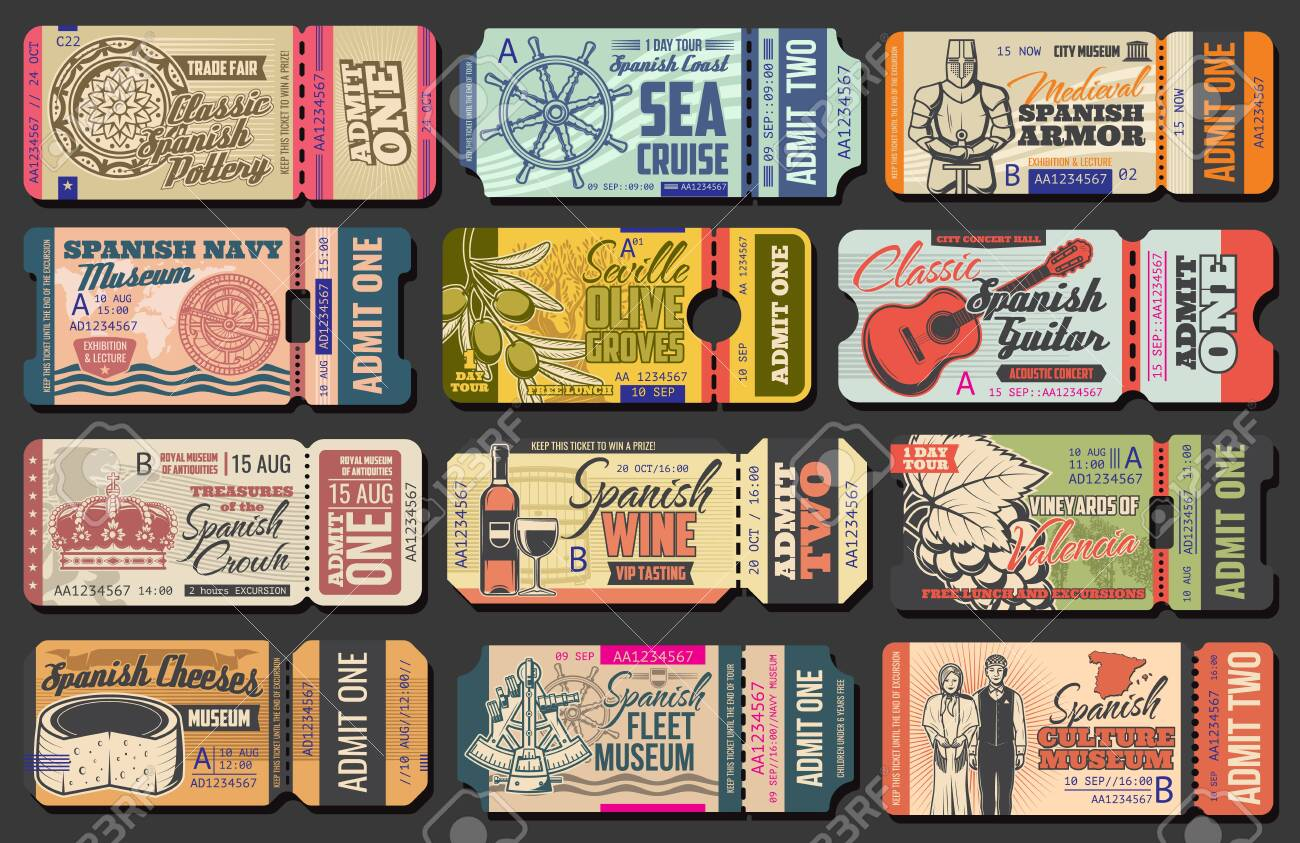 Ticket templates of Spanish museums, music concert and sea cruise, trade fair, olive farm and vineyard admission events. Vector entrance coupons with guitar, cheese and helm, wine, grapes and pottery - 132118361