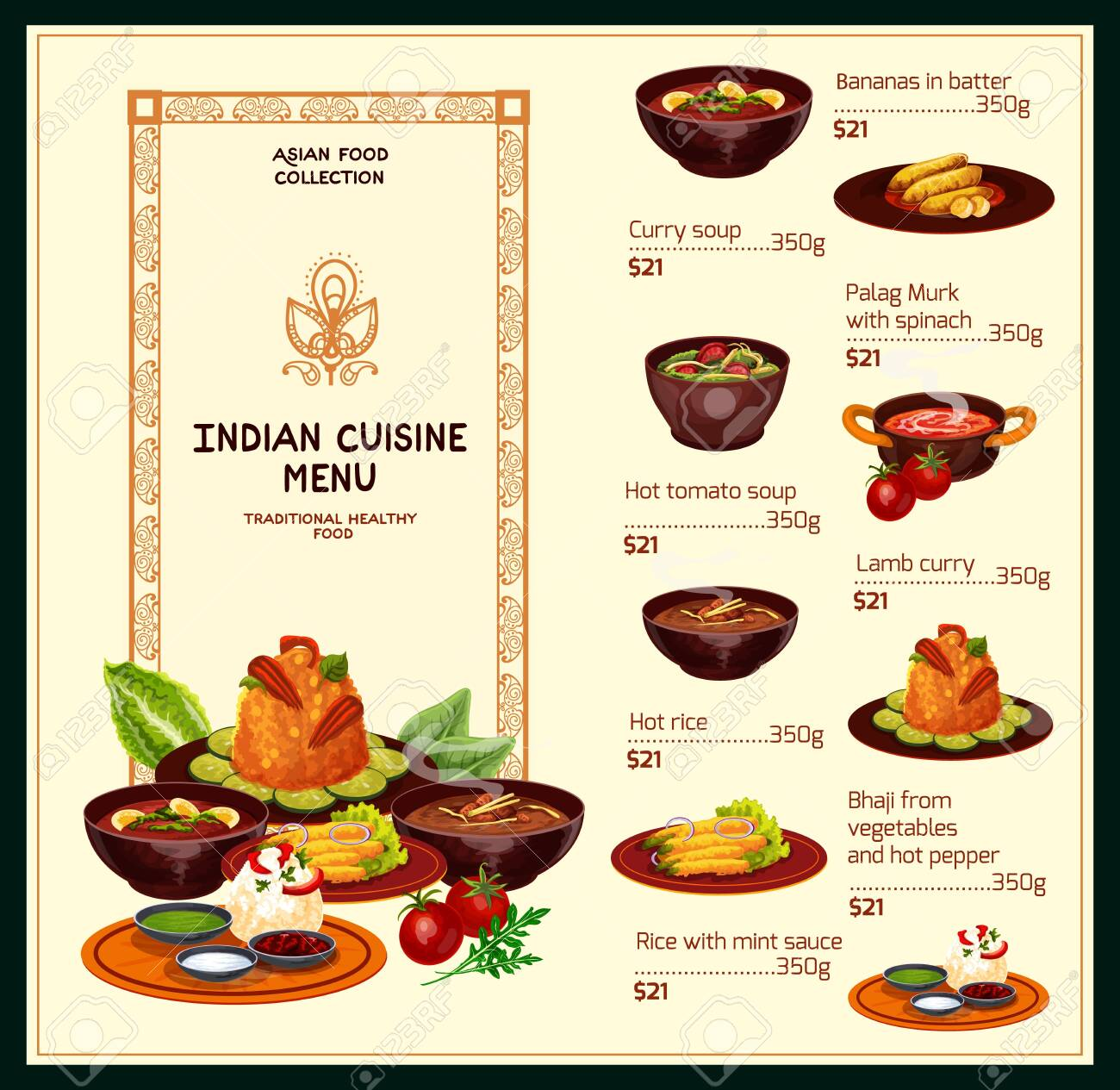 Indian Cuisine Restaurant Menu Traditional Food Dishes Vector Royalty Free Cliparts Vectors And Stock Illustration Image 133938594