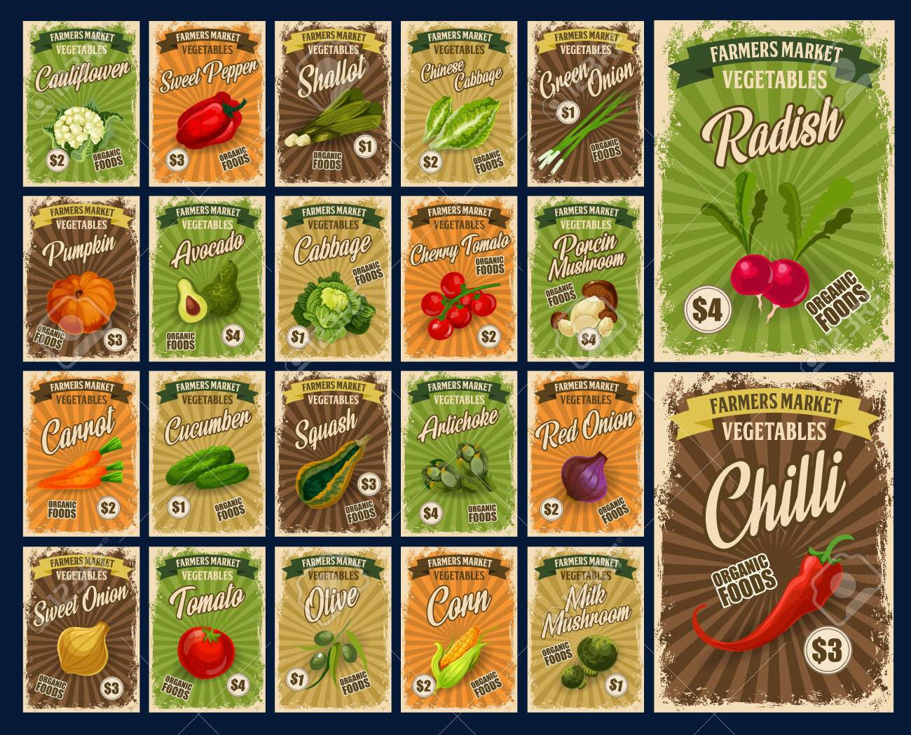 Vegetables Farm Market Veggies Salads And Organic Food Price Royalty Free Cliparts Vectors And Stock Illustration Image 134804948