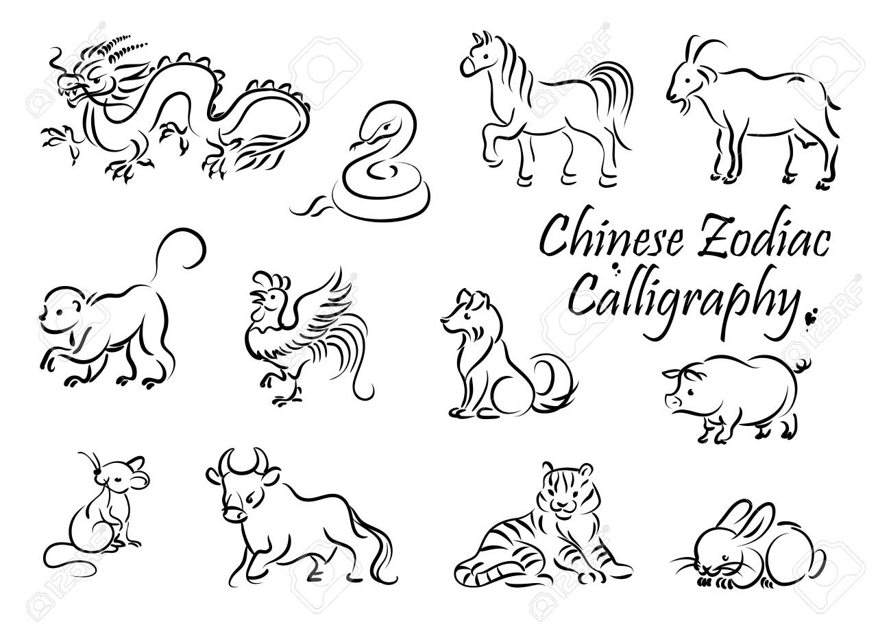 Zodiac Animal Vector Icons Of Chinese Horoscope New Year Symbols Royalty Free Cliparts Vectors And Stock Illustration Image 135740339