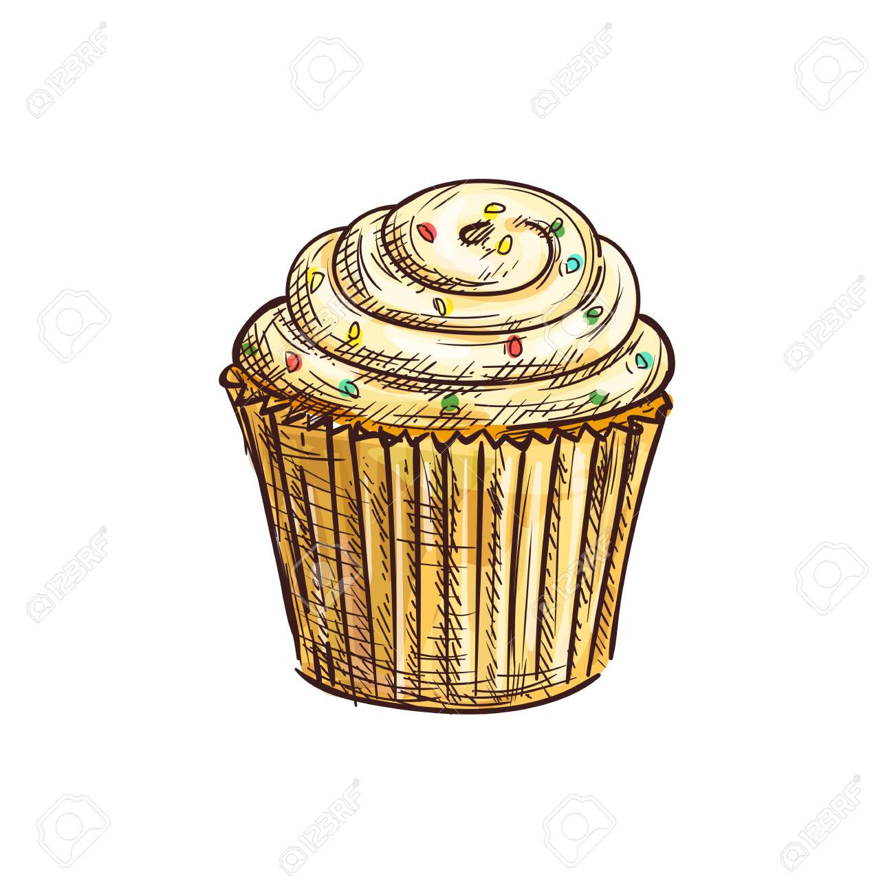 Phenomenal Cupcake Decorated By Sugar Glaze Isolated Muffin Sketch Vector Funny Birthday Cards Online Necthendildamsfinfo