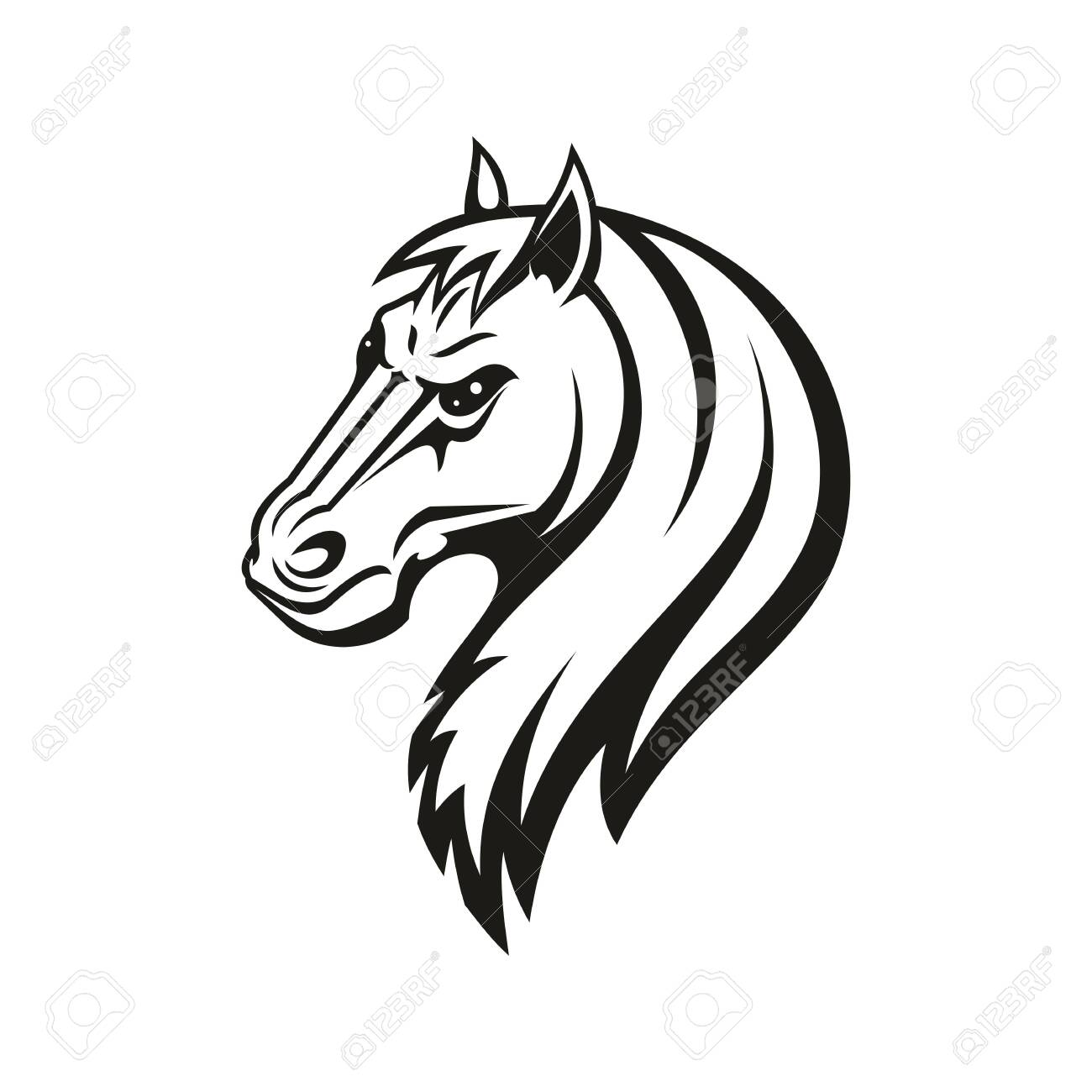 Horse Animal Icon Of Tribal Tattoo Or Racing Sport Mascot Head Royalty Free Cliparts Vectors And Stock Illustration Image 137233715