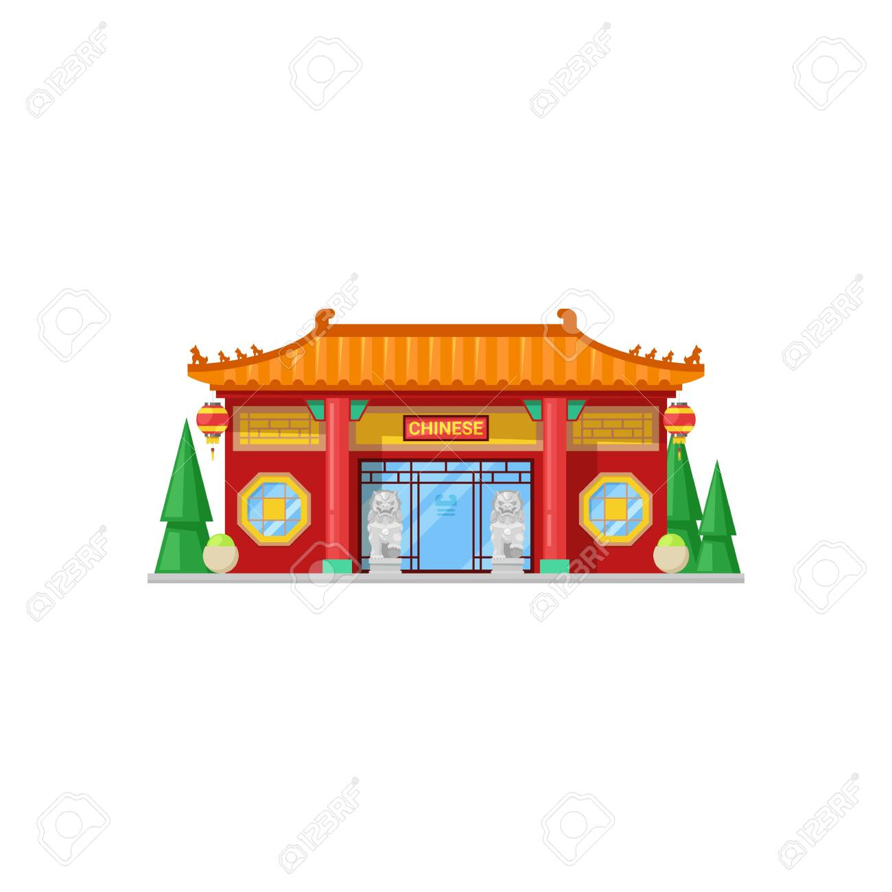 Chinese Restaurant Isolated Exterior Design Vector Cafe Building Royalty Free Cliparts Vectors And Stock Illustration Image 136708272