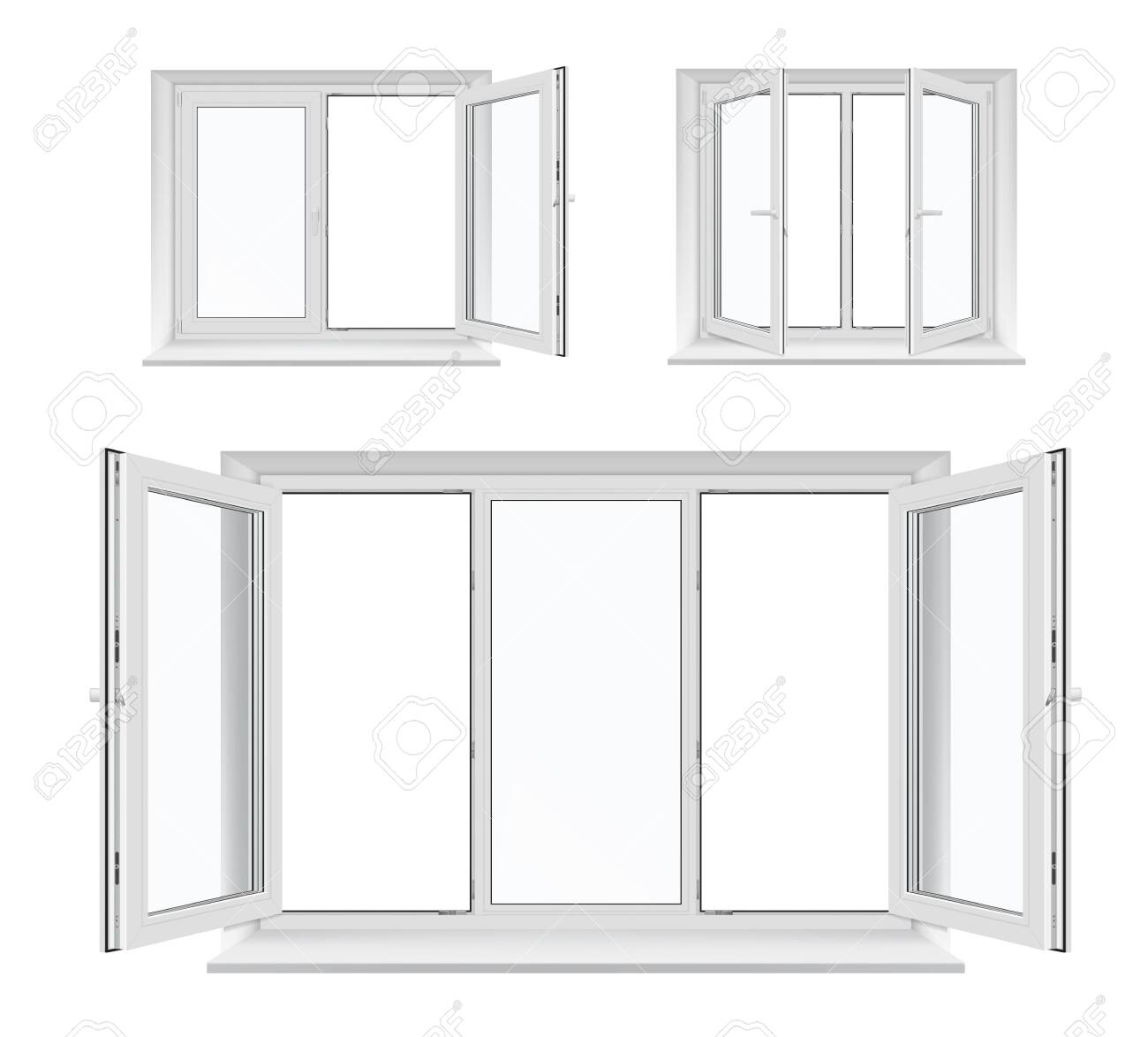 Windows with opened casements, vector white plastic frames, sills and glass panes, architecture and interior design. Realistic 3d windows with PVC, metal or aluminum profiles, locking handles - 137776078