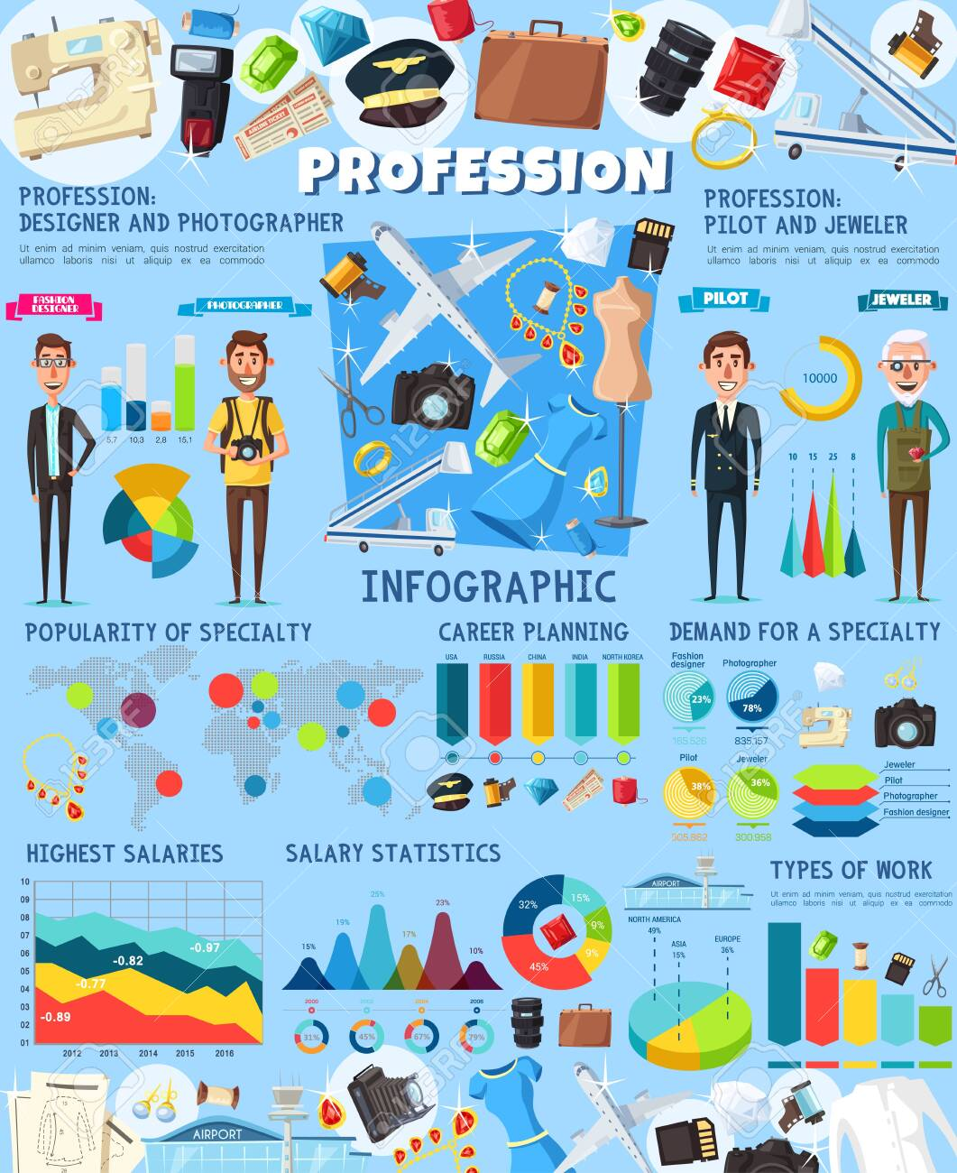 Professions Infographics Jeweler Fashion Designer Photographer Royalty Free Cliparts Vectors And Stock Illustration Image 137930668